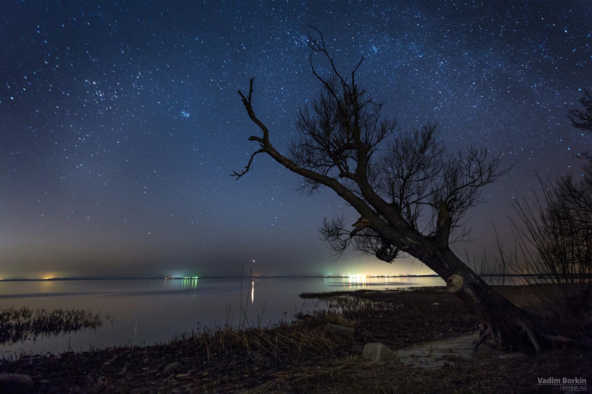 фото пейзаж со звездным небом